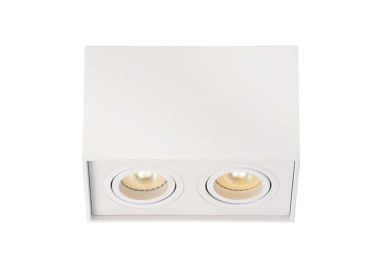 Lucide Tube-Deckenstrahler-GU10, Aluminium, GU10, 42 W, weiß, 18,5 x 9,6 x 12,5 cm
