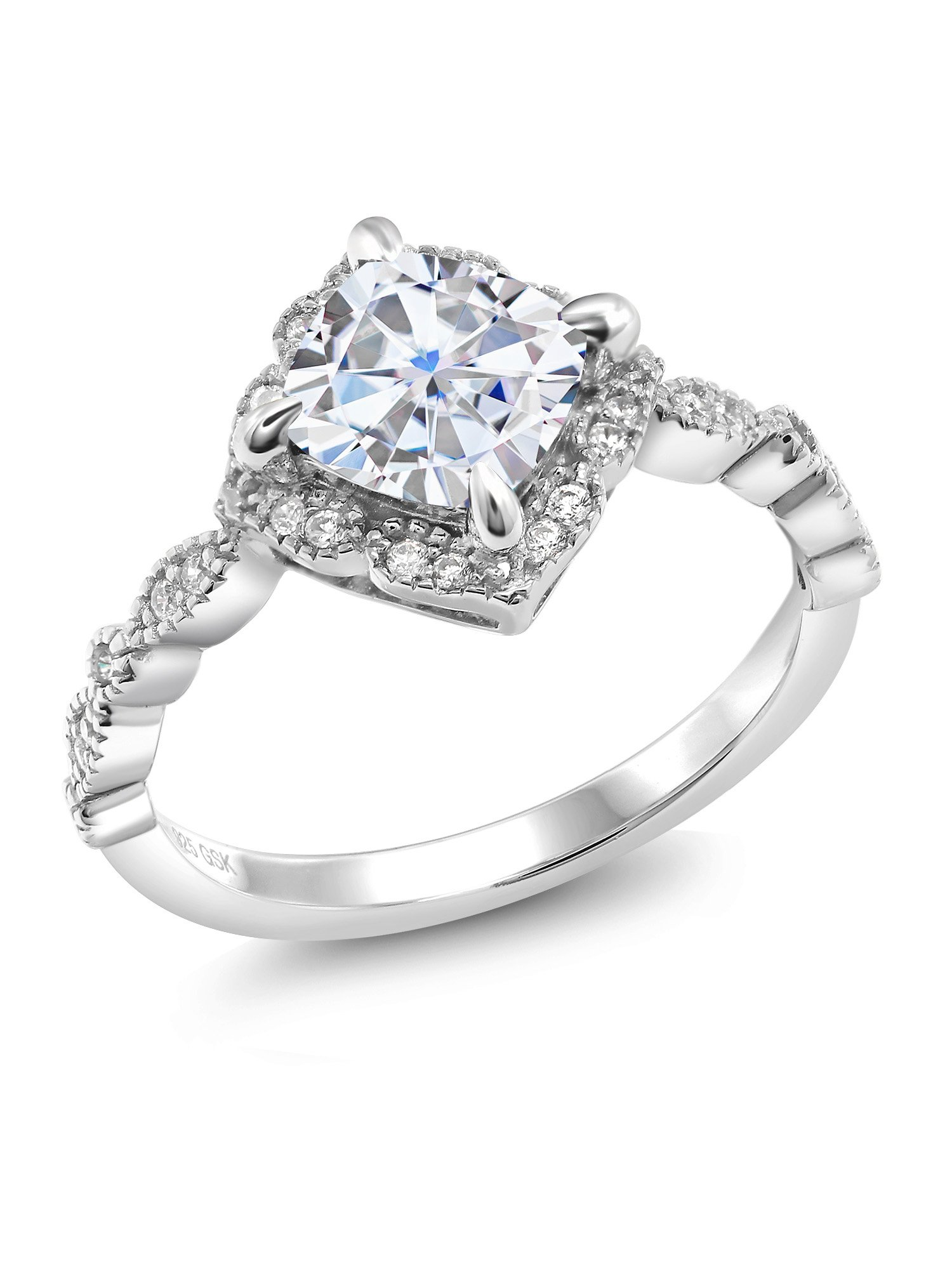 925 Platinum Plated Sterling Silver Fashion Right-Hand Ring Timeless Brilliant Cushion (IJK) 1.70ct (DEW) Created Moissanite
