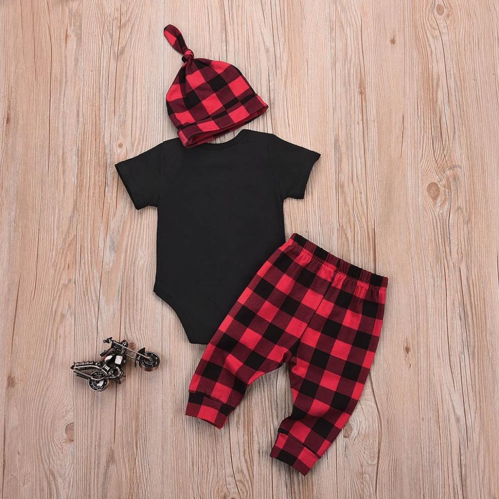 Dinlong 3Pcs 0-18 Months Newborn Baby Letter Romper Plaid Pants Hat Outfit Set