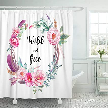 Emvency Fabric Shower Curtain With Hooks Watercolor Boho Chic Eucalyptus And Tree Branches Wreath Flowers