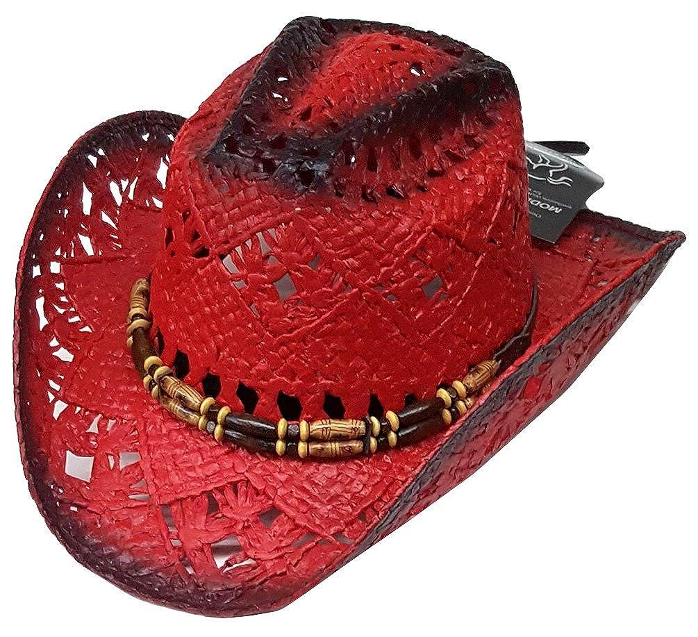 Modestone Womens Straw Cowboy-Hut Red Black