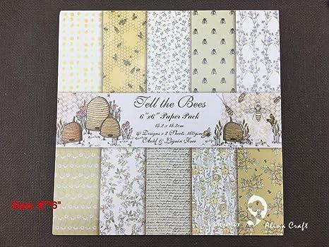 Scrapbooking Pack de 20 hojas de papel para álbumes de recortes, 15 x 15 cm, diseño de las abejas, papel para álbumes de recortes, hecho a mano, papel para manualidades y manualidades:
