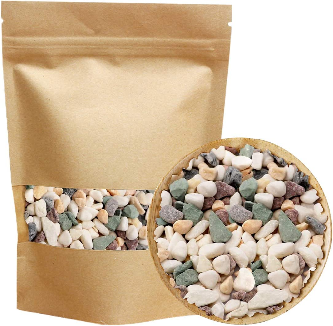 Natural Decorative Pebbles Polished Tterrarium Gravel White Stones Rocks with Red, Green, and Yellow Pastel Accents Mixed Color Aquarium Stones Garden Accessories Top Dressing for Bonsai Potted 2.2-lb