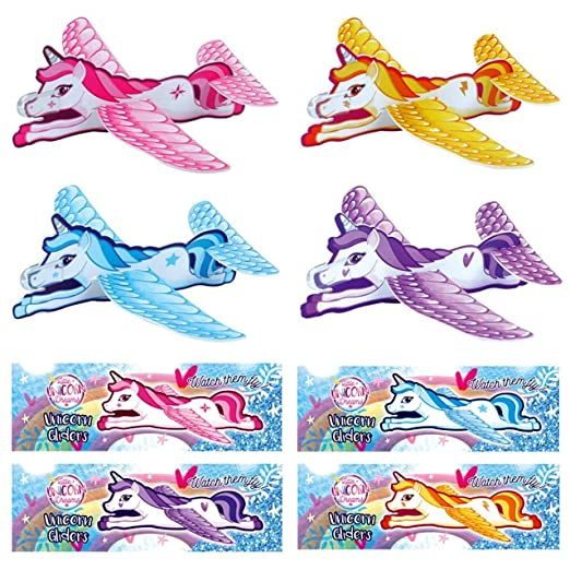 4 Unicorn Glider Toys Childrens Gift Filler Toy Easy To Make /& Fun to Fly