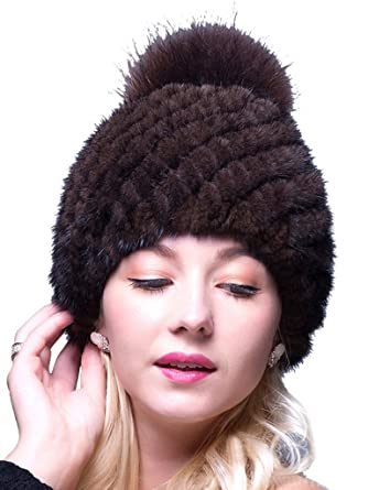 8cfc745978c9a LITHER Thick Winter Genuine Knit Mink Fur Hat with Fox Fur Pom Pom Beanie  Winter Warm Cap New Bonnet