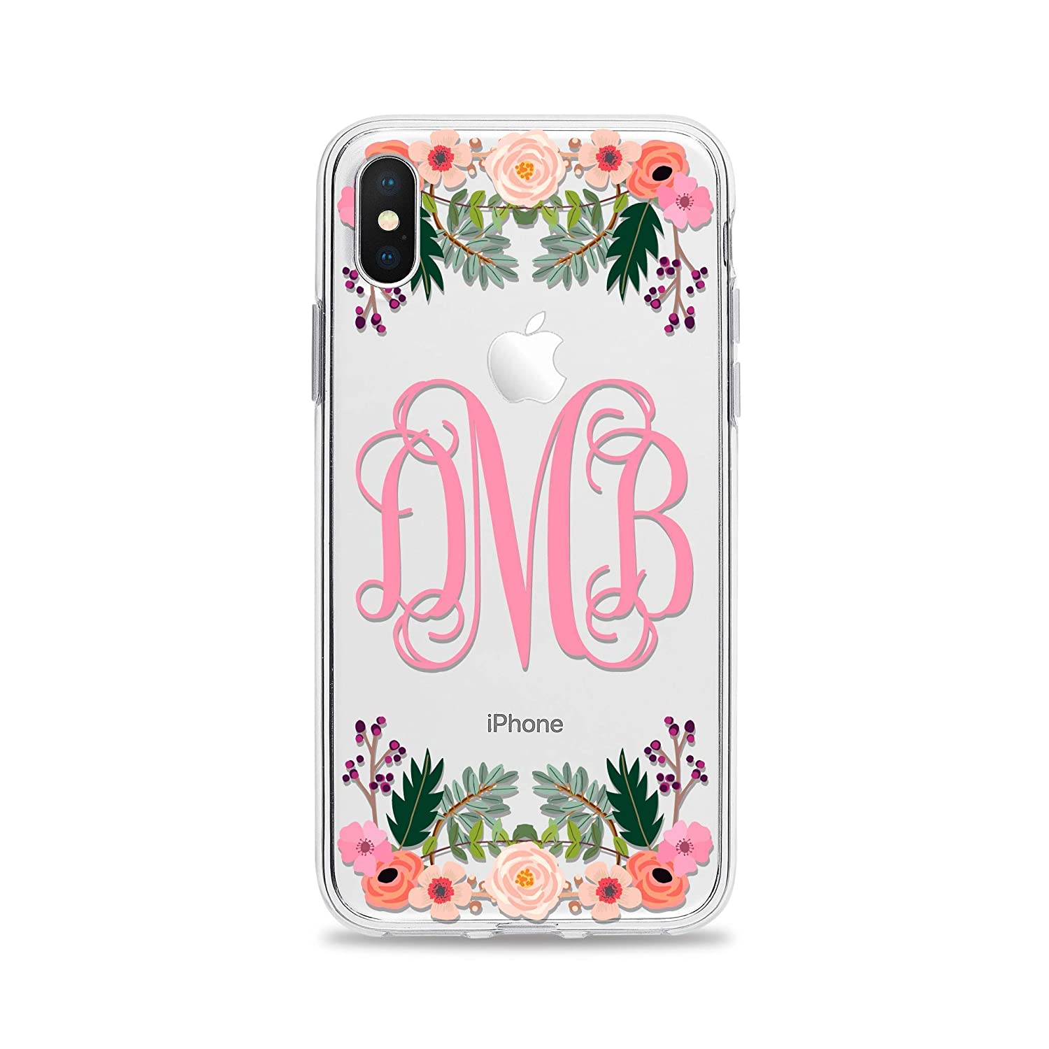 iPhone 8 Plus Case Monogram Cell Phone Cover for Apple iPhone XS X 10 7 6s 6 SE 5s 5 Samsung Galaxy S9 S8 S7 edge S6 Clear Transparent Rubber TPU with Charming Floral Design