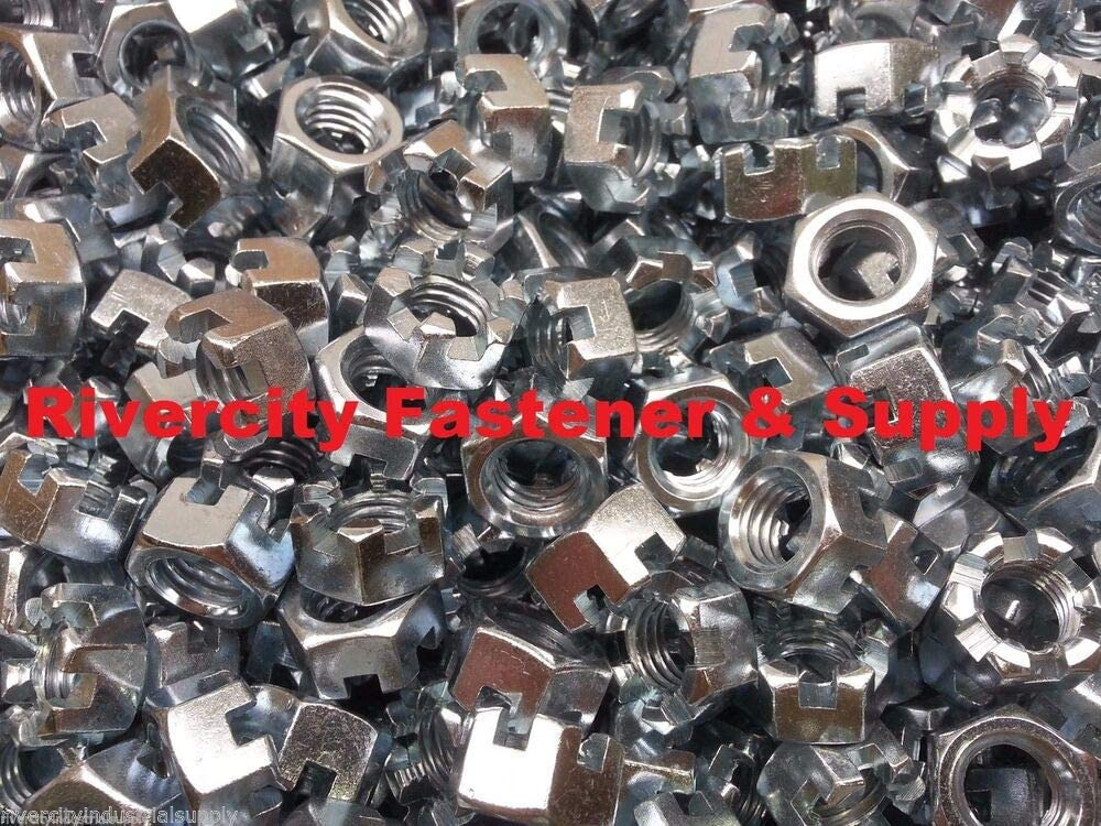 1//2-13 Slotted Hex Castle Nut Zinc Plated 1//2 x 13 Coarse Thread 10 Pcs