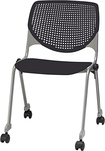 KFI Seating Kool Series Polypropylene Stack Chair with Perforated Back and Casters, Finish