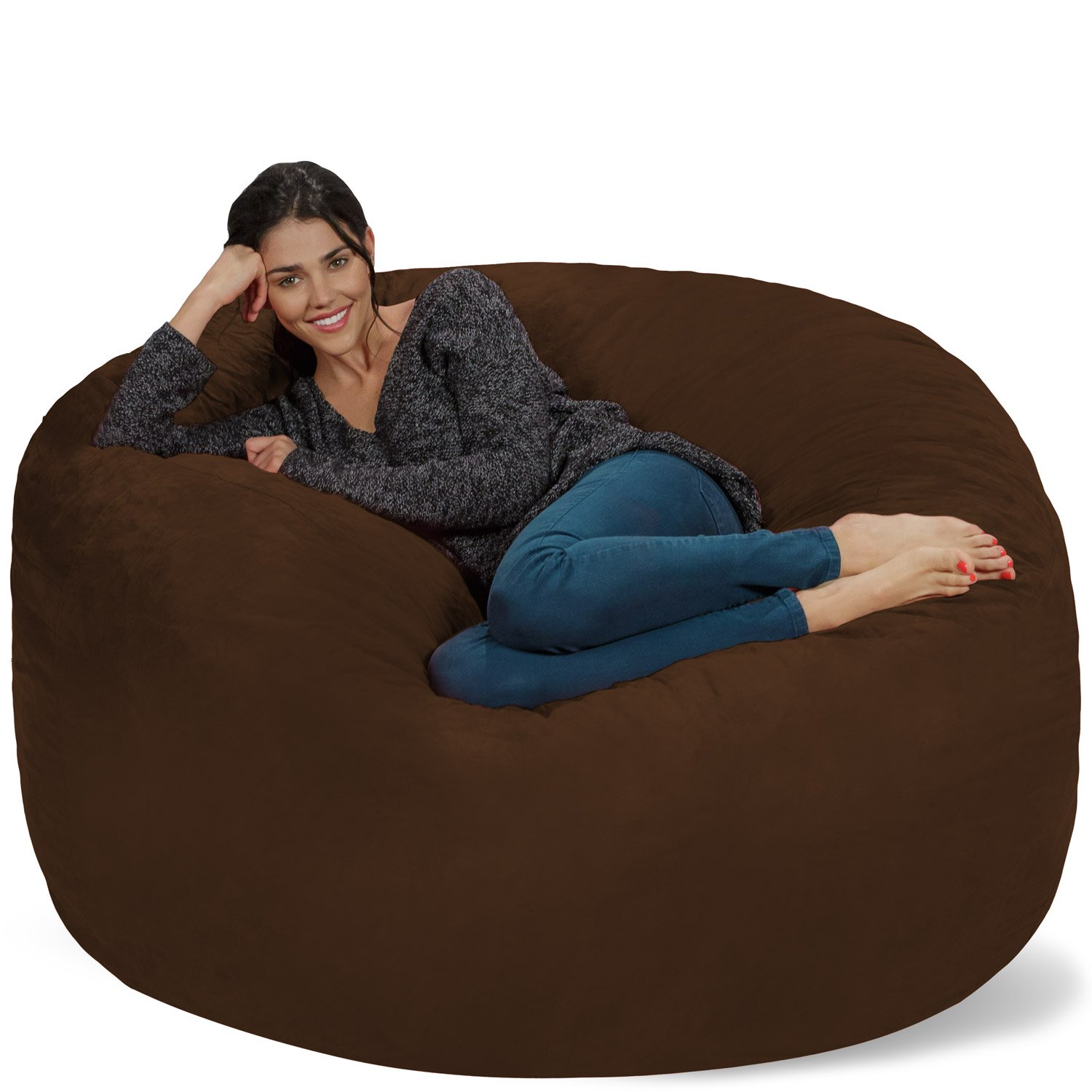 Chill Sack Bean Bag Chair: Giant Memory Foam Furniture Bags and Large Lounger - Big Sofa with Huge Water Resistant Soft Micro Suede Cover - Chocolate, 5 feet
