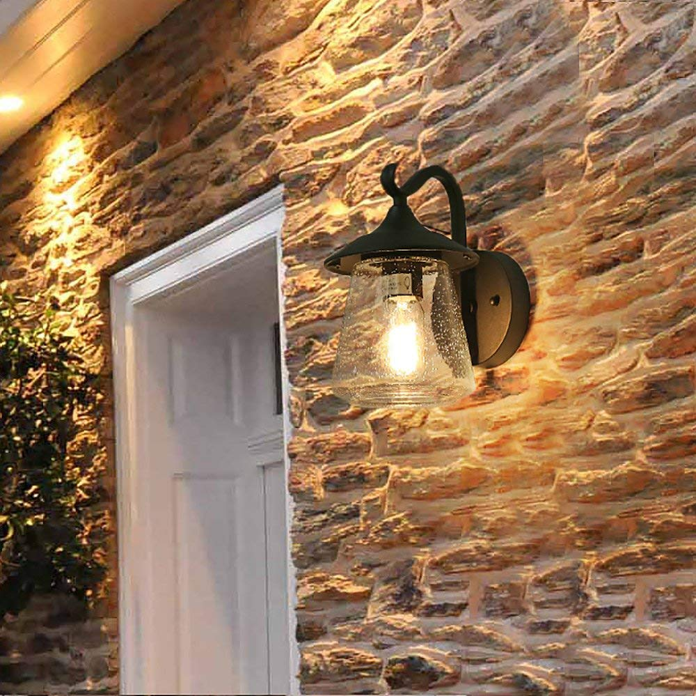 Log Barn A03356 Farmhouse Outdoor Wall Sconce, 1-Light Exterior Light Fixtures Wall Mounted Porch Lighting in Black with Seeded Glass