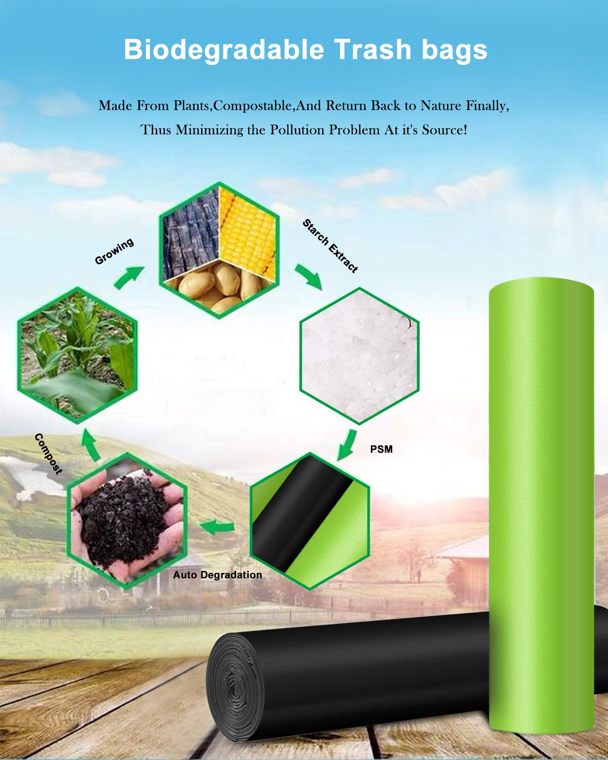 Biodegradable Garbage Bags,4-6 Gallon Small Trash Bags,100 Counts Small Garbage Bags Leak Proof Compostable Bags Wastebasket Liners for Office,Home,Bathroom,Bedroom,Car,Kitchen,Pet(Green+Black)