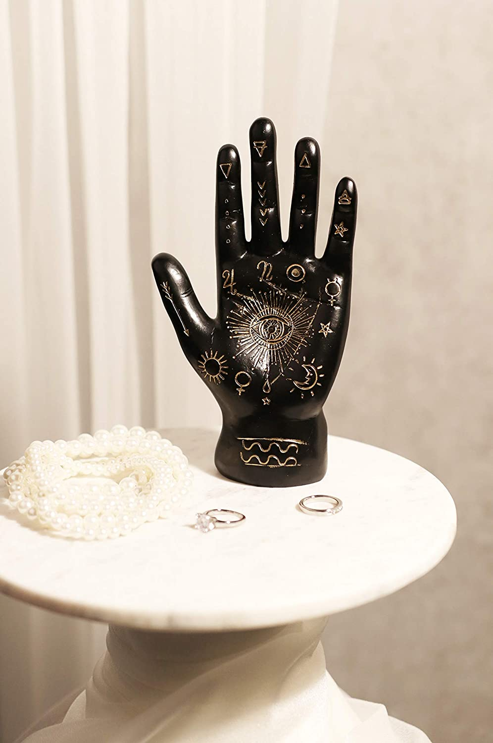 Ebros Gift Ancient Mystical Psychic Fortune Teller Chirology Palmistry Hand Palm with Lines and Symbols Figurine Decor Witchcraft Spiritual Divinity Statue for Palmists Readers (Black)