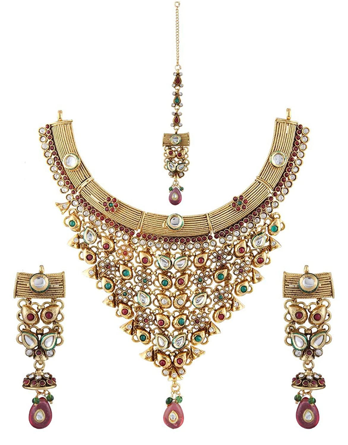 Anuradha Art Golden Finish Studded White Colour Shimmering Stone Traditional Necklace Set For Women/Girls