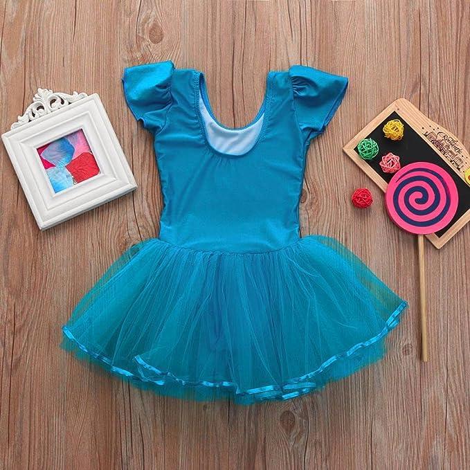 BYSTE Bambini Body Manica Corta Danza Balletto Tutu Pratica Costume Gonna a Soffietto Ragazza Leotard Vestito Ginnastica Abbigliamento Dancewear