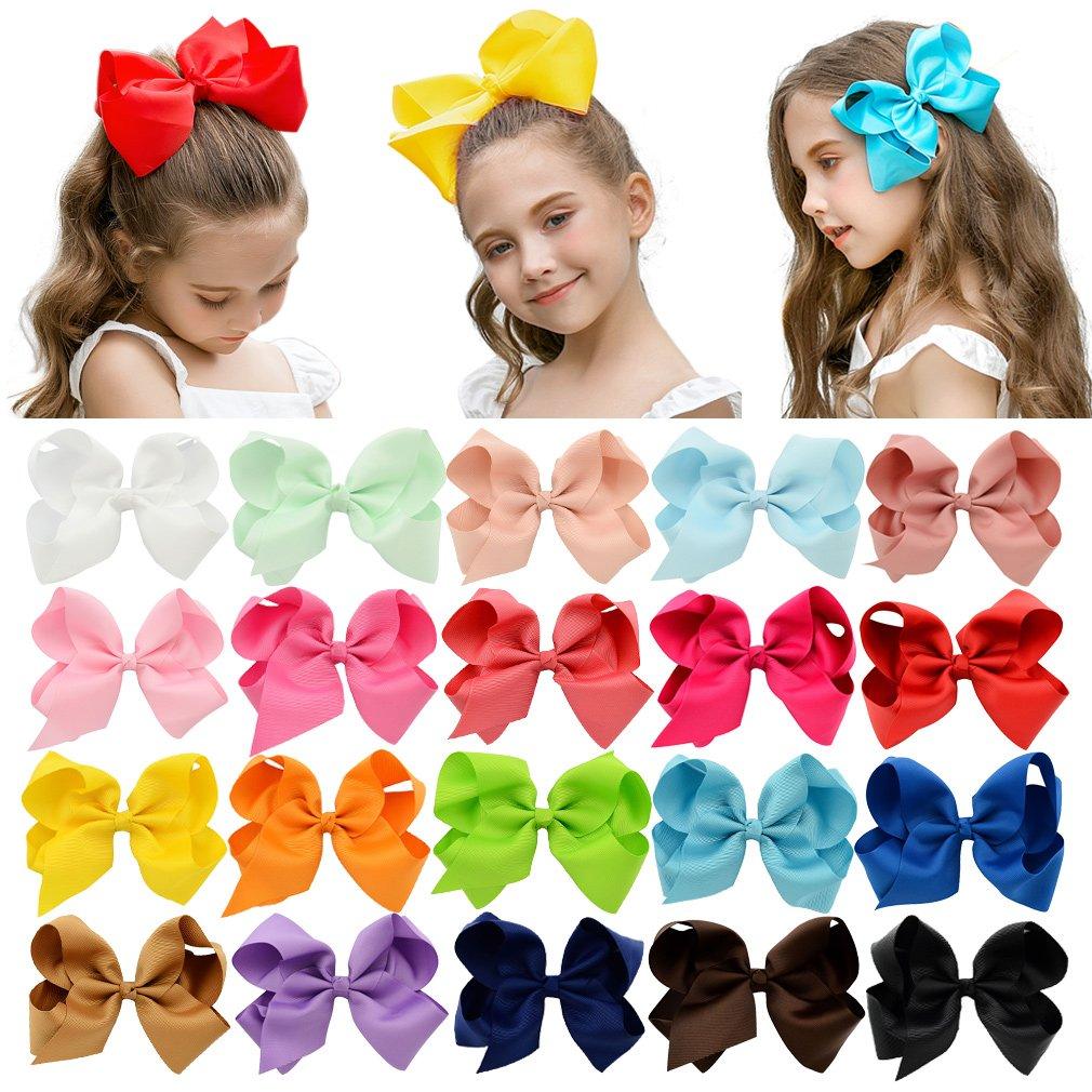 "DEEKA 20 PCS Multi-colored 6"" Hand-made Grosgrain Ribbon Hair Bow Alligator Clips Hair Accessories for Little Girls"