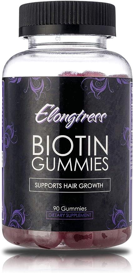Biotina gomoso 5000mcg por porción de refuerzo crecimiento del cabello - 90 gomitas por botella - Biotina ayuda al crecimiento del cabello - Crecer el pelo más largo con vitaminas biotina por