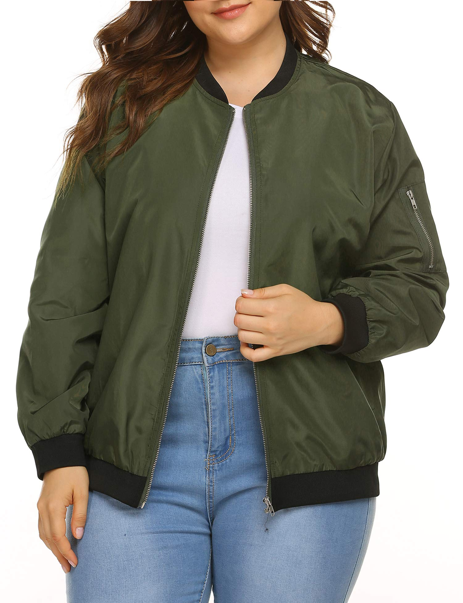 IN'VOLAND Womens Jacket Plus Size Bomber Jackets Lightweight with Pockets Zip Up Quilted Casual Coat Outwear Army Green by IN'VOLAND