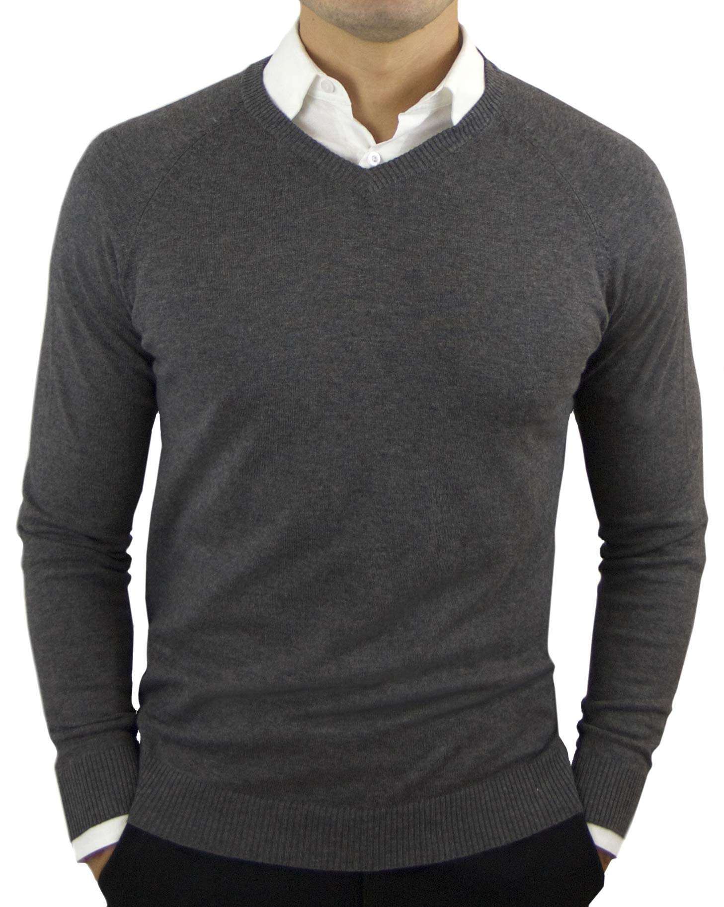 CC Perfect Slim Fit V Neck Sweaters for Men | Lightweight Breathable Mens Sweater | Soft Fitted V-Neck Pullover for Men, Large, Charcoal Grey