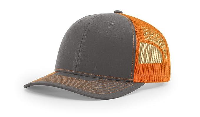 c0866eb8 Image Unavailable. Image not available for. Color: Richardson Charcoal/Orange  112 Mesh Back Trucker Cap Snapback Hat ...