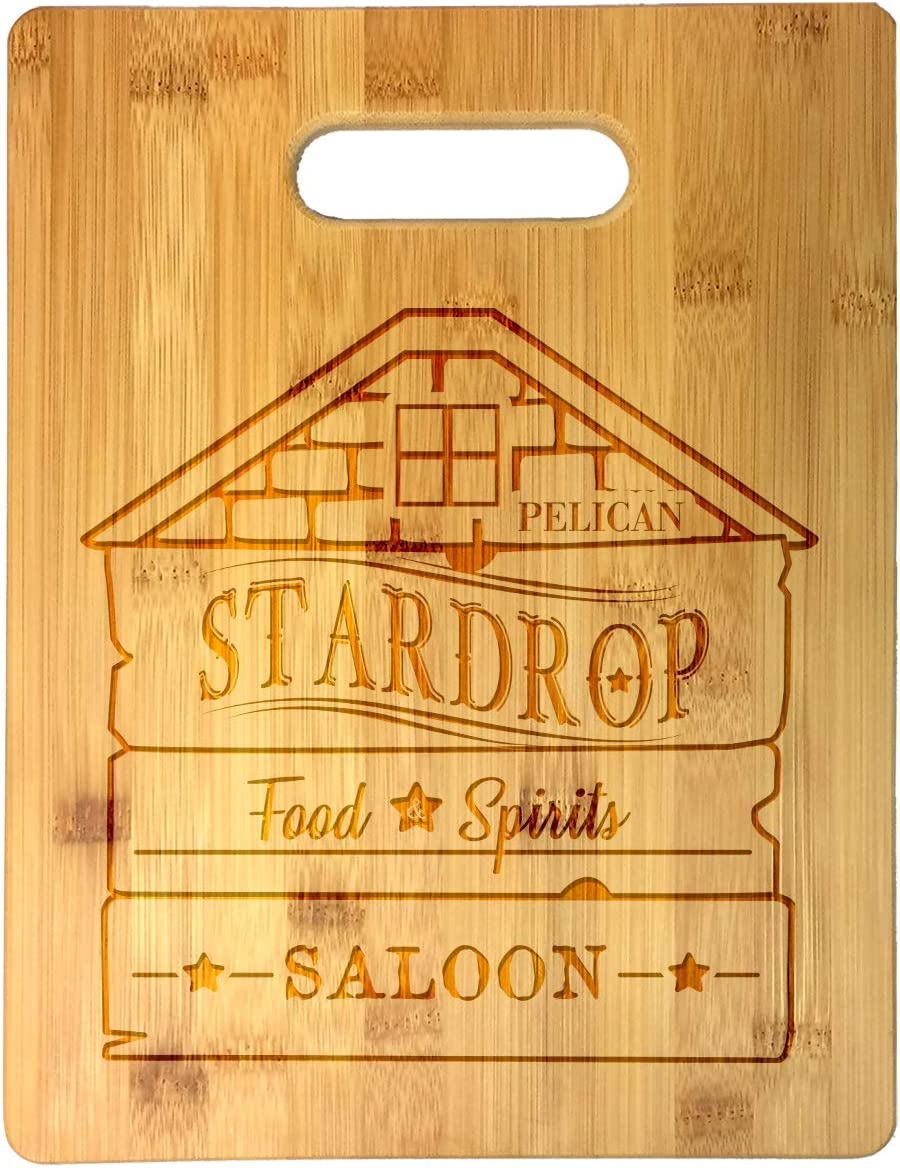 Stardrop Saloon Rustic Bar Food Game Parody Sign Logo Laser Engraved Bamboo Cutting Board - Wedding, Housewarming, Anniversary, Birthday, Christmas, Gift