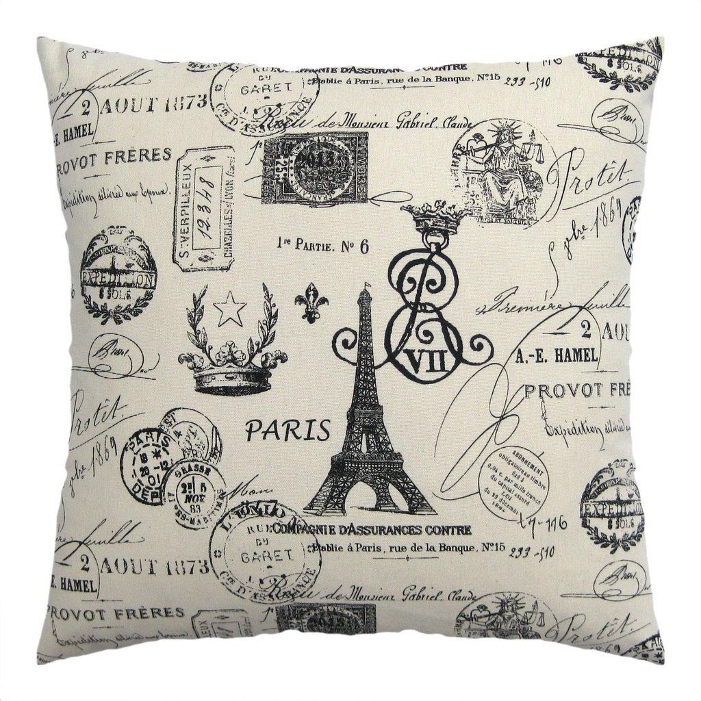 JinStyles Paris Eiffel Tower Stamps Cotton Canvas Decorative
