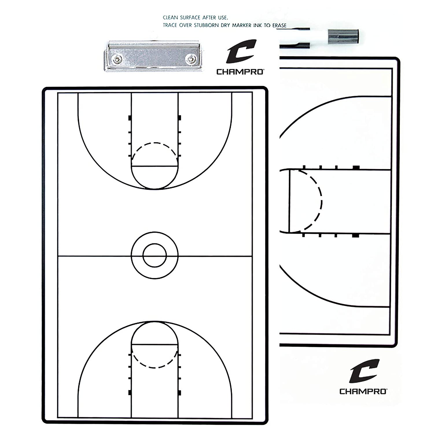 "CHAMPRO Basketball Coach's Board 10"" x 16"" - Dry Erase with Marker"