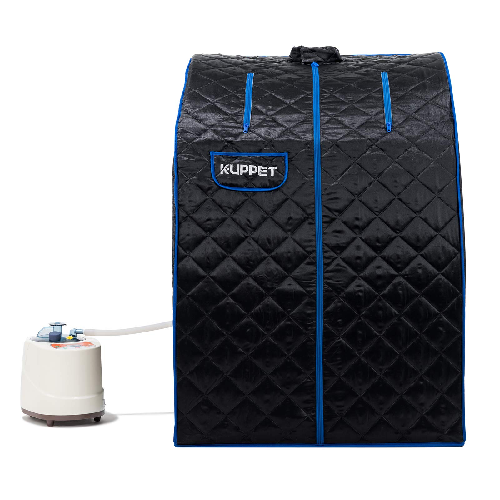 KUPPET Portable Folding Steam Sauna-2L One Person Home Sauna Spa for Full Body Slimming Loss Weight w/Chair, Remote Control, Steam Pot, Foot Rest, Mat (Black) by KUPPET
