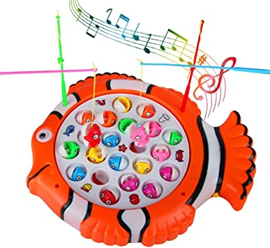 TONZE Juego de Pesca de Mesa Pescar Rotativo Peces Juguete de Pescar Giratorio Music Juguetes Educativos Regalos para Niños Niñas 3 4 5 Años: Amazon.es: Juguetes y juegos