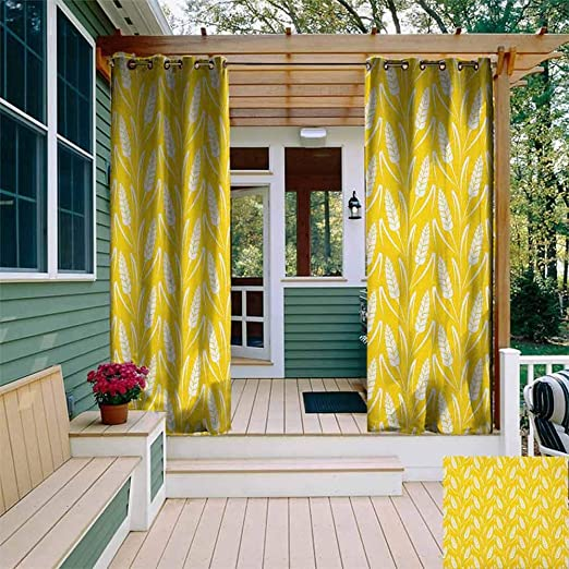 DONEECKL - Cortina impermeable para exteriores, color amarillo y ...