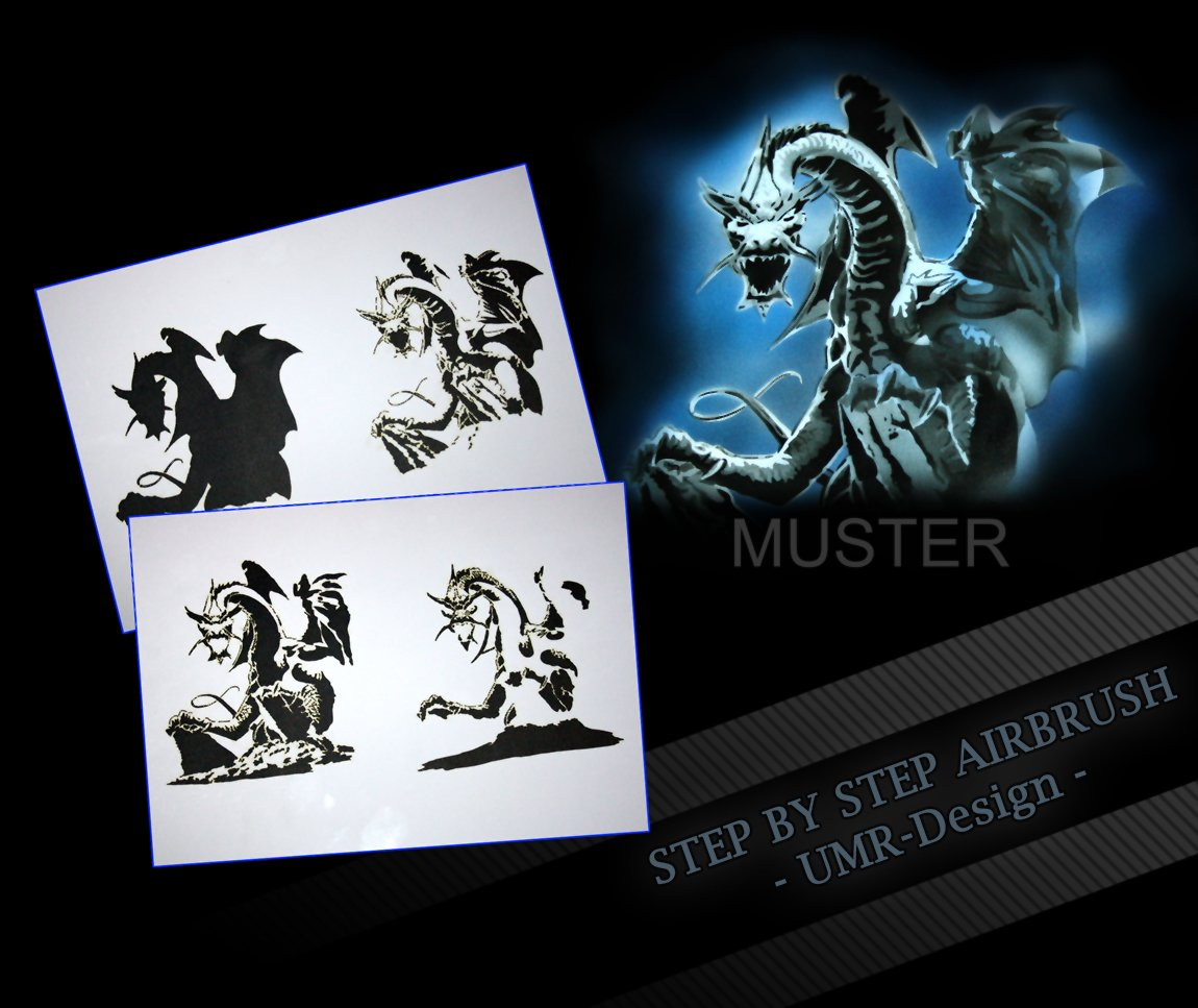 Step by Step Airbrush Stencil AS - 073 Dragon UMR-Design