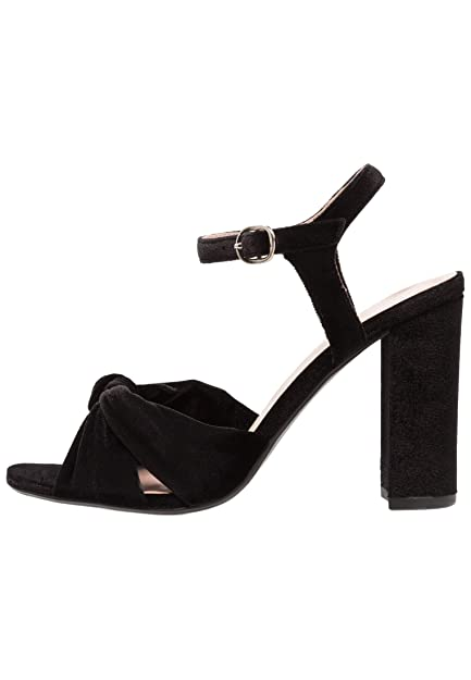 a7bb781caac ANNA FIELD Women's Velvet Heels - Summer Chunky High Heel Sandals with  Ankle Strap in Black