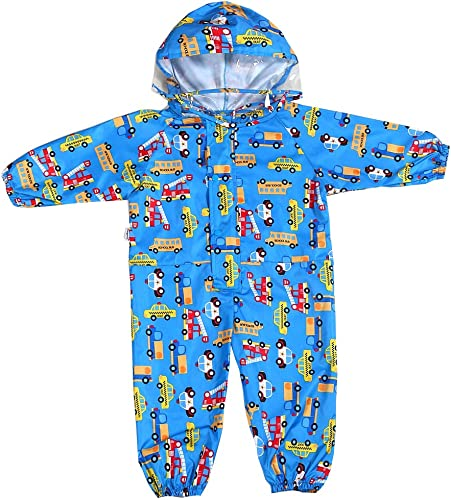 Unisex Kids Waterproof Jumpsuit One Piece Animal Printed Rainsuit Coverall Baby All-in-One Suit 1-7y
