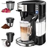Sboly 6 In 1 Coffee Machine, Single Serve Coffee, Tea, Latte and Cappuccino Maker, Compatible With K-Cup Pods & Ground Coffee