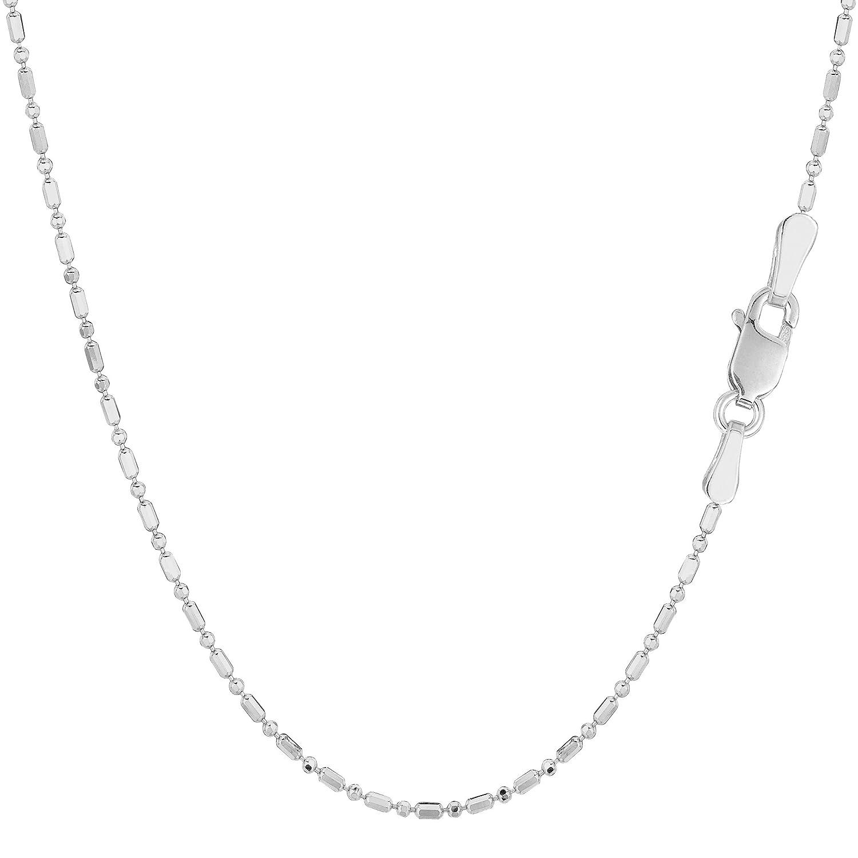14k White Gold Diamond Cut Bead Chain Necklace, 1.2mm 16