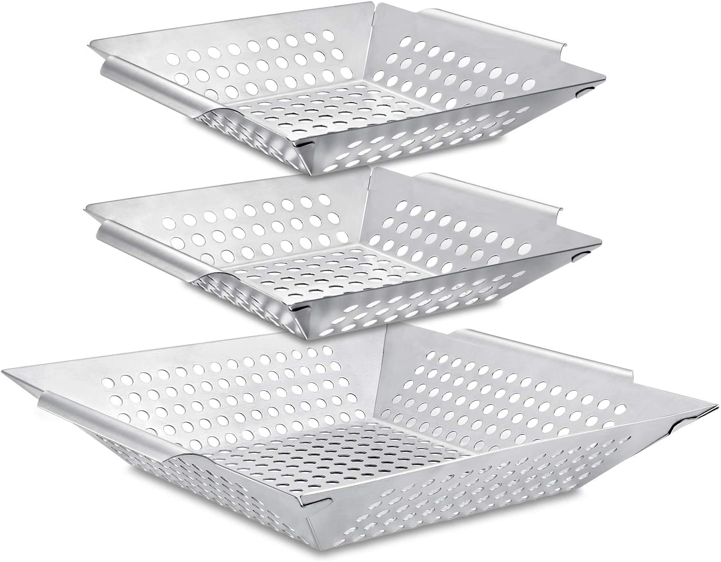 3 Pack Grill Basket Set - Heavy Duty Stainless Steel Grilling Accessories,Grilling Wok for Vegetable, Kabob, Shrimp, Fit All Grill