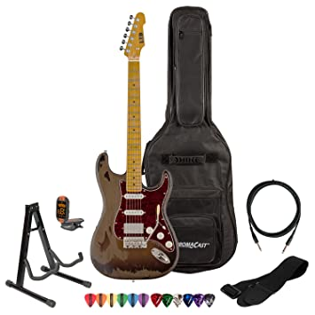 Esp George Lynch gl-256 guitarra eléctrica con cable de 10 pies, correa, soporte, ChromaCast Pick Sampler y ChromaCast Gig Bag: Amazon.es: Instrumentos ...