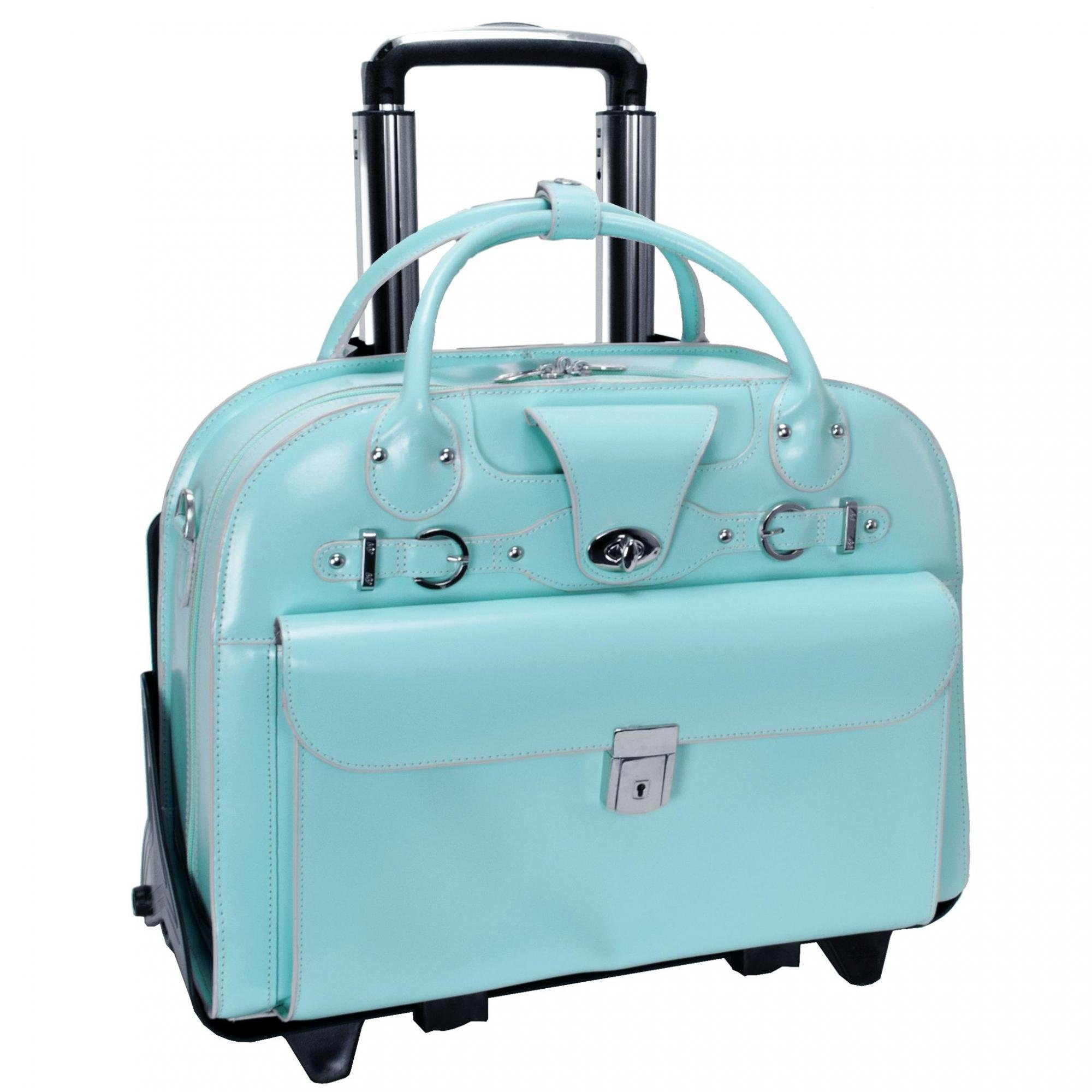 McKleinUSA ROSEVILLE 96648 Aqua Blue Leather Fly-Through Checkpoint-Friendly Detachable-Wheeled Ladies' Briefcase