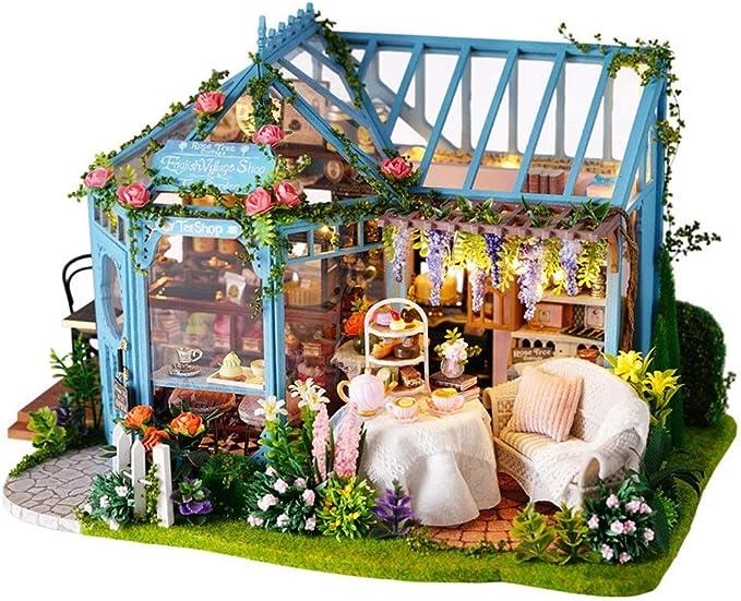 Casa de bricolaje Regalos DIY miniatura Sala Modelo Set-Woodcraft Construction Kit-madera fijado del mini de la casa hace mejor cumpleaños for mujeres y niñas Kits artesanales Casa de muñecas Juguetes: Amazon.es: Hogar