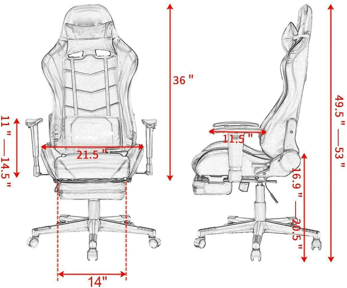 350 Lbs Heavy Duty Sturdy Ergonomic Gaming Chair with High Back Footrest Adjustable Recliner with Headrest Lumbar Support Pillow High Back Ergonomic Leather Executive Office Chair Red Black