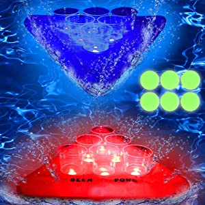 28.7in28.7in Glowing in The Dark Beverage Pong Inflatable Rack, Floating Pool Pong Beverage Pong Rack for Pool Games for Adults, Includes 2 Rafts 12 Cups and 6 Pong Balls, Red & Blue