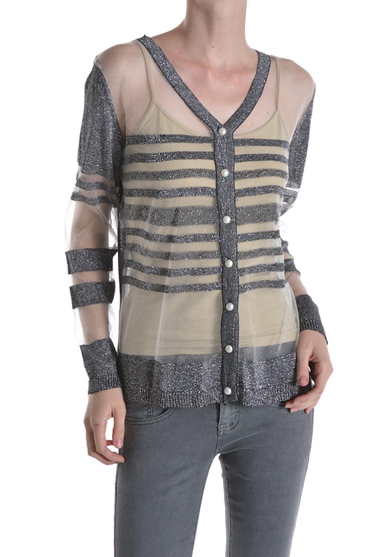 Bangbangusa Women Glittery Striped Pearl Button Long Sleeves Cardigan