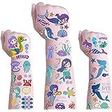 Mermaid Temporary Tattoos for Kids - Glitter Styles Mermaid Body Stickers,Waterproof Mermaid Fake Tattoo Stickers and Nail St