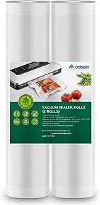 Aobosi Vacuum Sealer Bags Vacuum Food Sealer Rolls BPA Free & LFGB Approved Food Storage Bags 2 Rolls 11