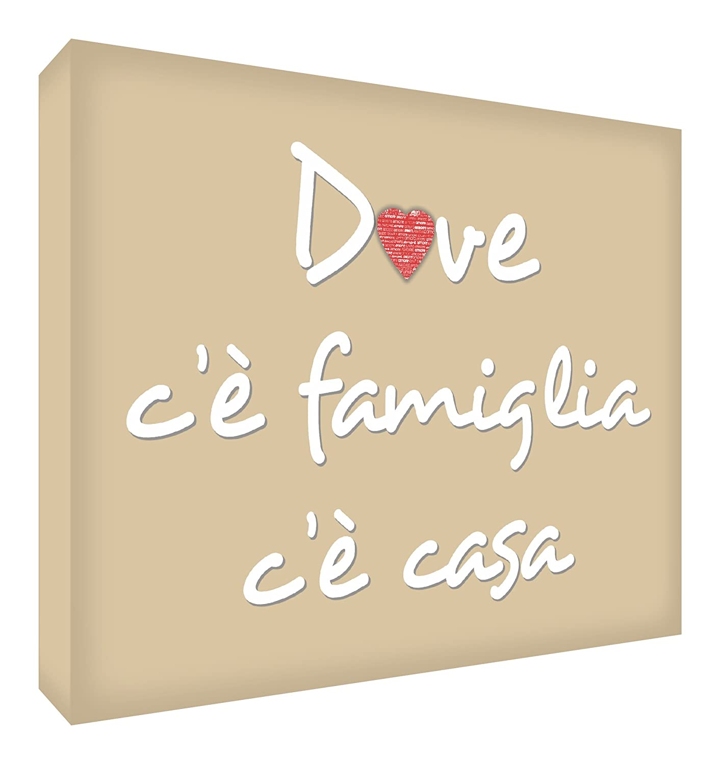 "Feel Good Art HMEFAM1216-02IT Wall Canvas with Typographic Text ""Dove c'è Famiglia c'è Casa"" [Text in Italian] 30 x 20 x 4 cm red HMEFAM1624-02IT"