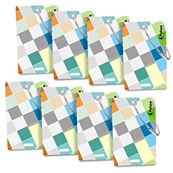 Vakoo Etiquetas para Equipaje, 8 Pack Equipaje Etiqueta Aluminio Equipaje Bolso ID Tag portatarjetas con Llavero, Etiquetas del Viaje Bolso del Equipaje de ...