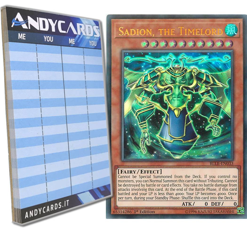 Yu-Gi-Oh! - SADION, THE TIMELORD - Ultra Rare BLLR-EN033 in ENGLISH + Andycards Scorepad