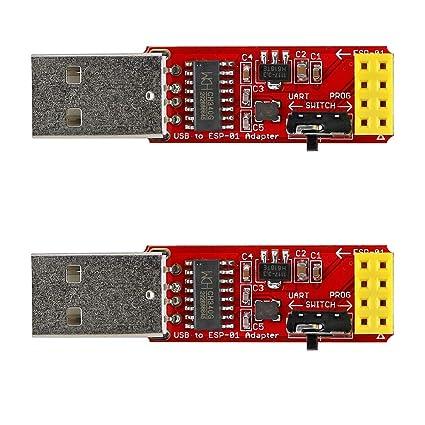 2PCS USB to ESP-01 Adapter, ESP8266 Wireless WiFi Module Wi-Fi CH340G, UART  PORG, 4 5-5 5V, 115200 Baud Rate