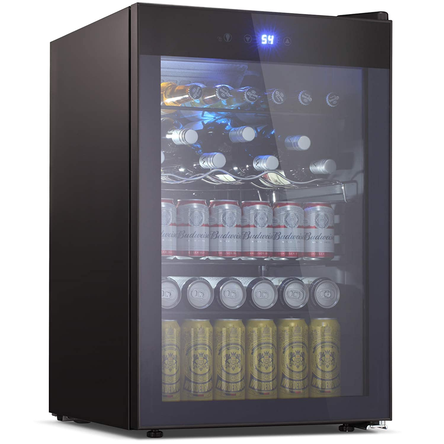 Tavata Beverage Refrigerator and Cooler - 4.5 Cu. Ft. Drink Fridge with Glass Door for Soda, Beer or Wine - Small Beverage Center with 5 Removable Shelves for Office/Man Cave/Basements/Home Bar (4.5 Cu.Ft)