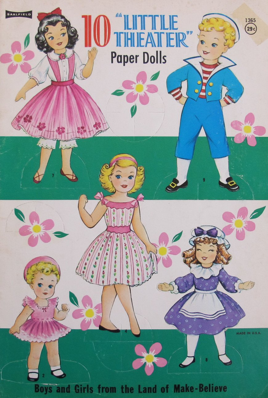 Saalfield 10 ''LITTLE THEATER'' PAPER DOLLS Book UNCUT w Nursery Rhyme & Story Dolls & Fashions (1960 SAALFIELD by)