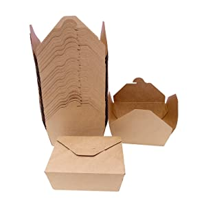 Take Out Boxes Chinese,46 oz (50 Pack) Disposable Paper Take Out Food Containers,Microwaveable Kraft Brown Recyclable Tableware Boxes for Restaurants,Catering and Parties.